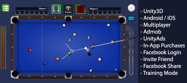 Billiards Multiplayer – 8 Ball Pool clone Unity