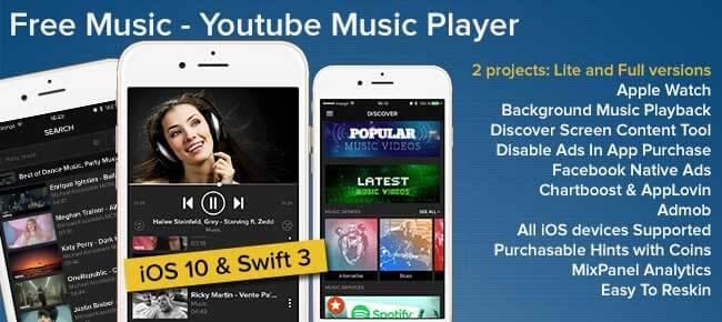 Buy Free Music Player iOS App source code - Sell My App