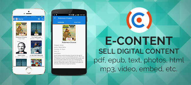 E-Content android app: sell digital content