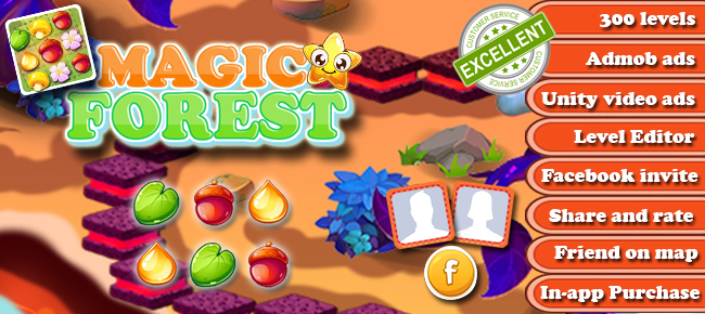 Magic Forest – Match 3 Puzzle – 300 tested levels – Level Editor