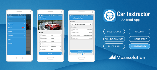 buy sell app template  Buy Moza Car Instructor Android App Template - Sell My App