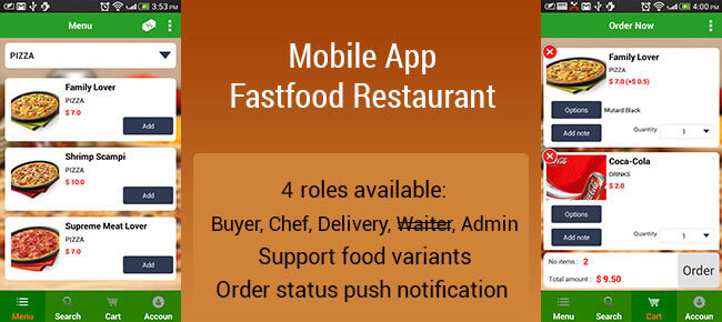 Restaurant fastfood & drink ordering iOS App