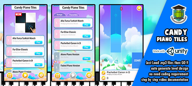 Candy Piano Tiles – ( Just insert your .mp3 files )
