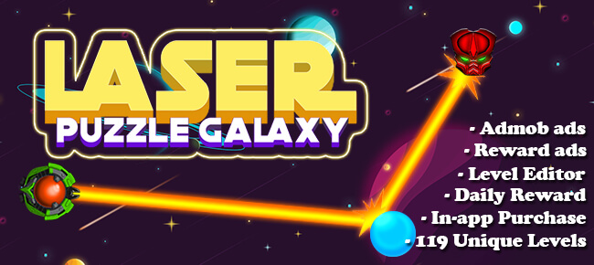 Laser Puzzle Galaxy – Unity 2018 – Instant support – High quality project