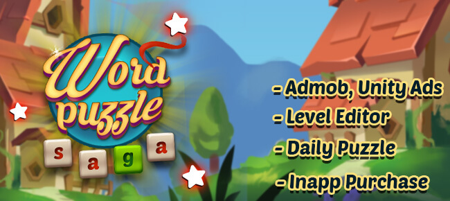 Word Puzzle Saga – Unity 2018 – High quality source – Level editor