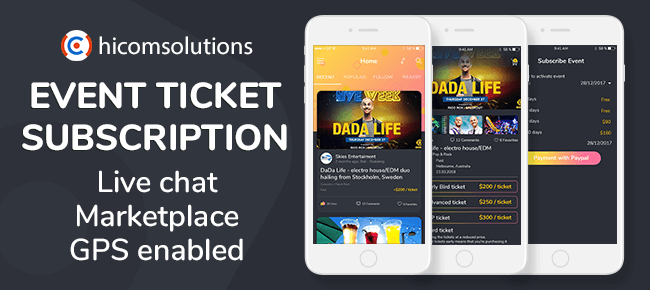 Event Tickets Social Network, Marketplace With Subscription Model – iOS