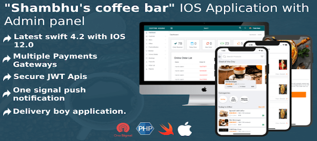 CoffeeBar ios multipurpose application with admin panel and driver