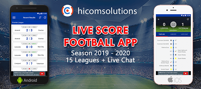 Livescore football app template Season 2019-2020 – iOS