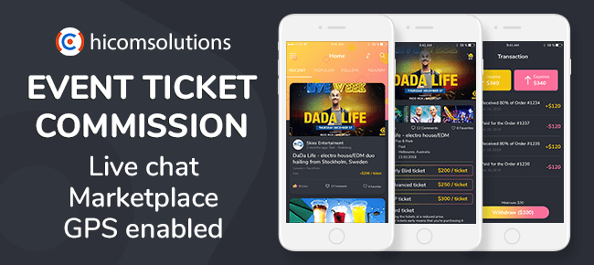 Event Tickets Social Network, Marketplace With Commission Model – iOS