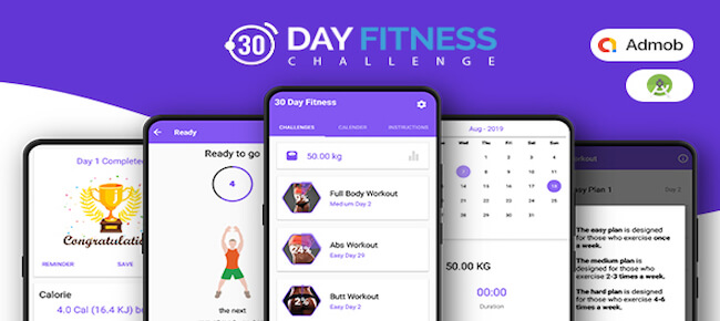 30 Days Fitness Challenge (Native Android mobile app)