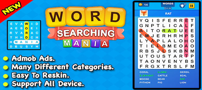 Word Searching Mania Puzzle Game For Android