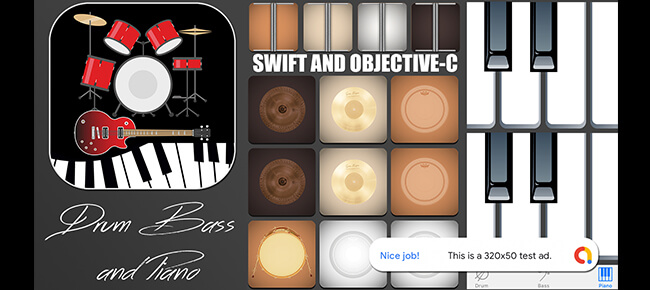 Drum, Bass and Piano App for iPhone with AdMob banner