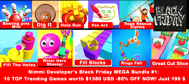 Nimmi Developer's Black Friday MEGA Bundle #1: 10 TOP Trending Games -85% OFF NOW!