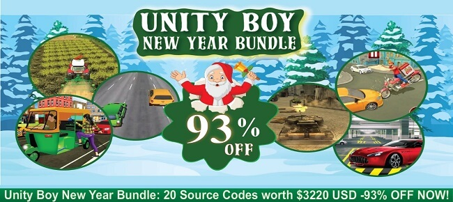 Unity Boy New Year Bundle: 20 Source Codes worth $3220 USD -93% OFF NOW!