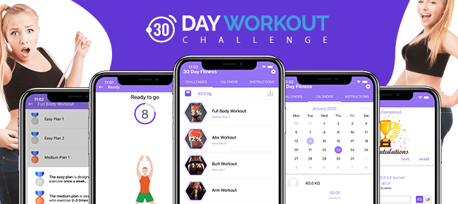 30 Day Fitness – Workout Challenges – Native iOS Mobile app