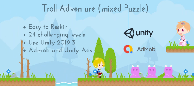 Troll Adventure (mixed Puzzle) – Unity Game Template