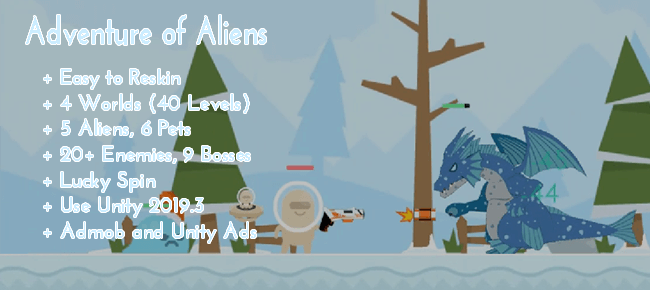 Adventure of Aliens (40 Levels + 9 Bosses) – Unity Game Template