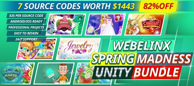 Webelinx Spring Madness Unity Bundle 2020: 7 Games -82% OFF NOW!
